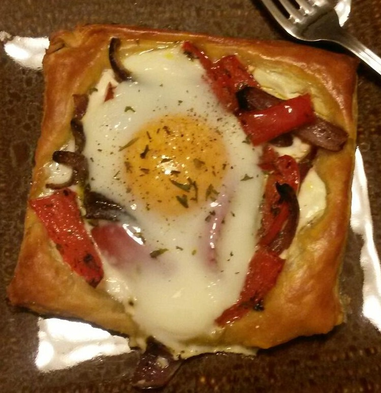 Roasted Red Pepper Baked Egg Galette
