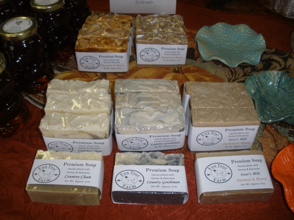 honey and beeswax soap at fox trot farm