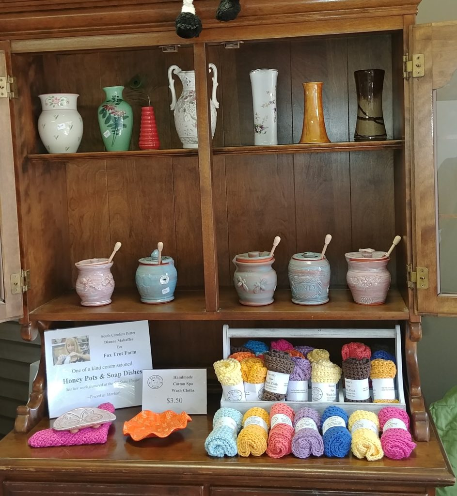 Dianne Mahaffee honey pots, soap dishes, and Jantzen Crook's hand made cotton spa cloths