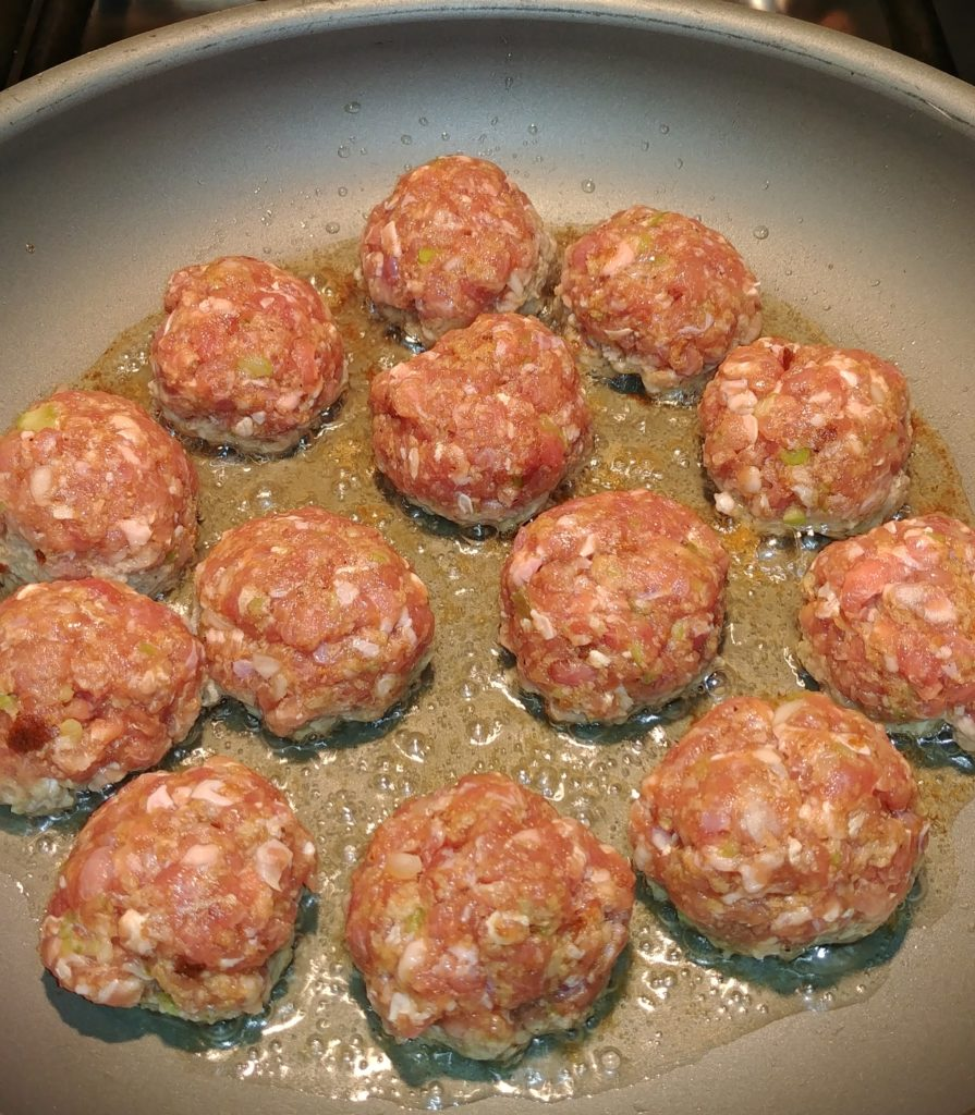 Browning Lamb Meatballs in a Skillet