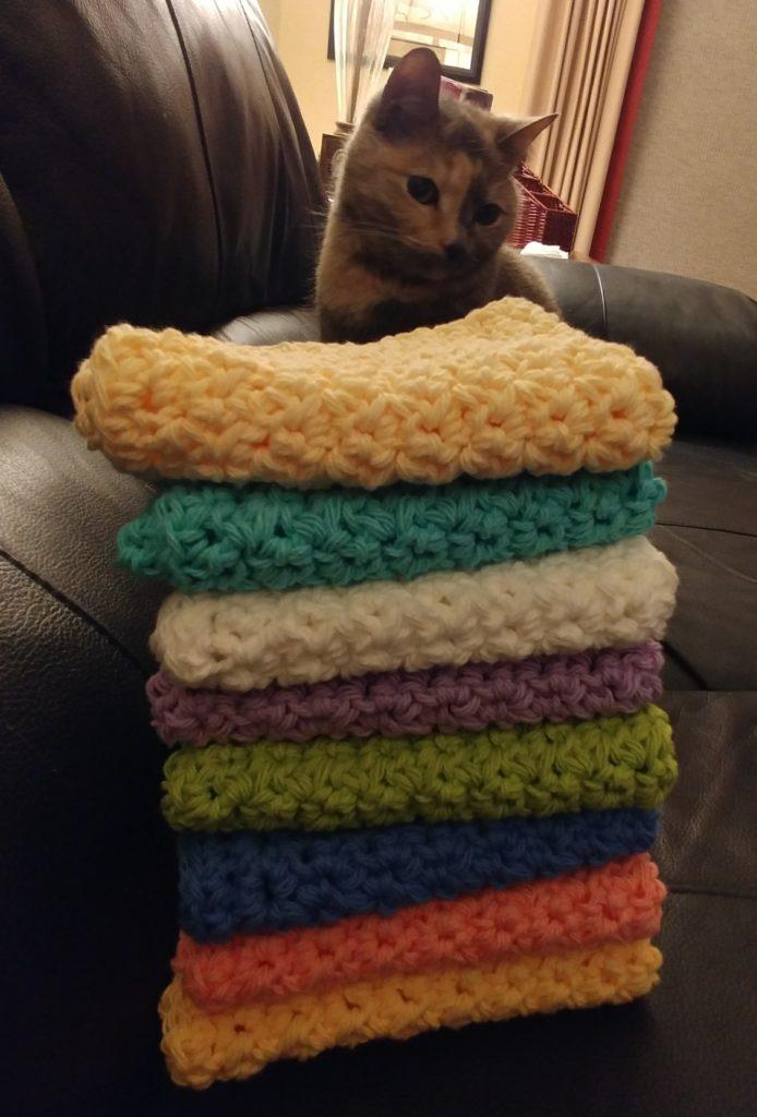 Cat helping crochet