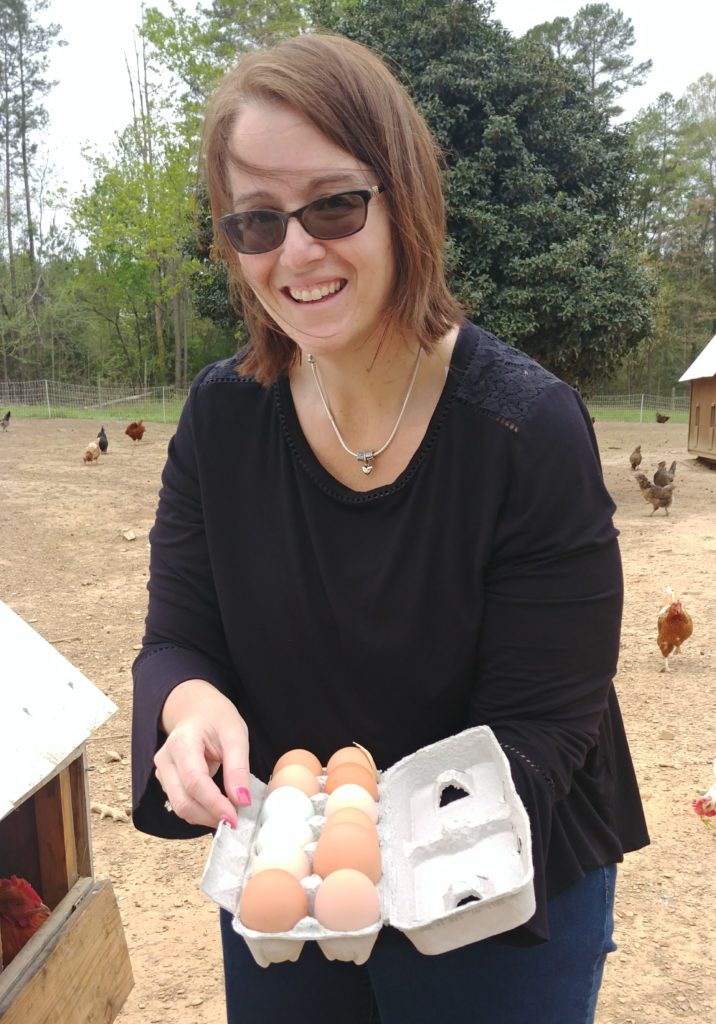 Visiting Teacher Gathering Eggs