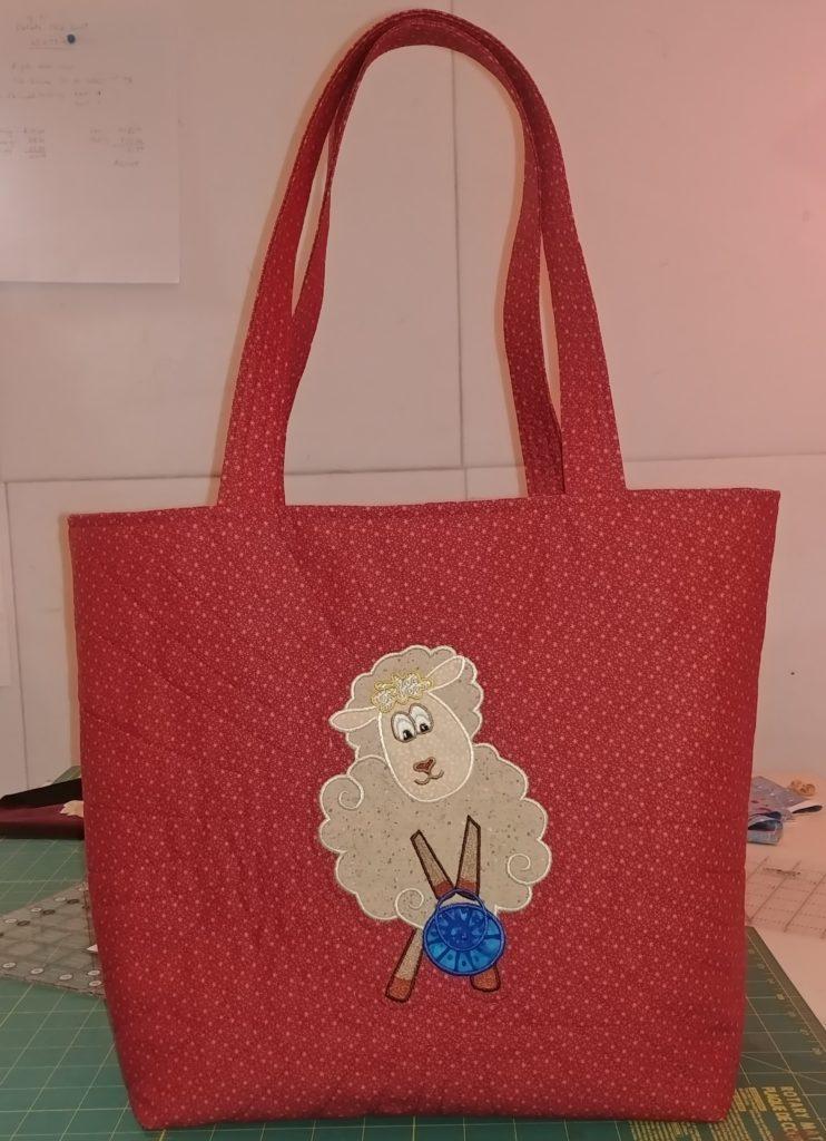 sheep applique tote bag