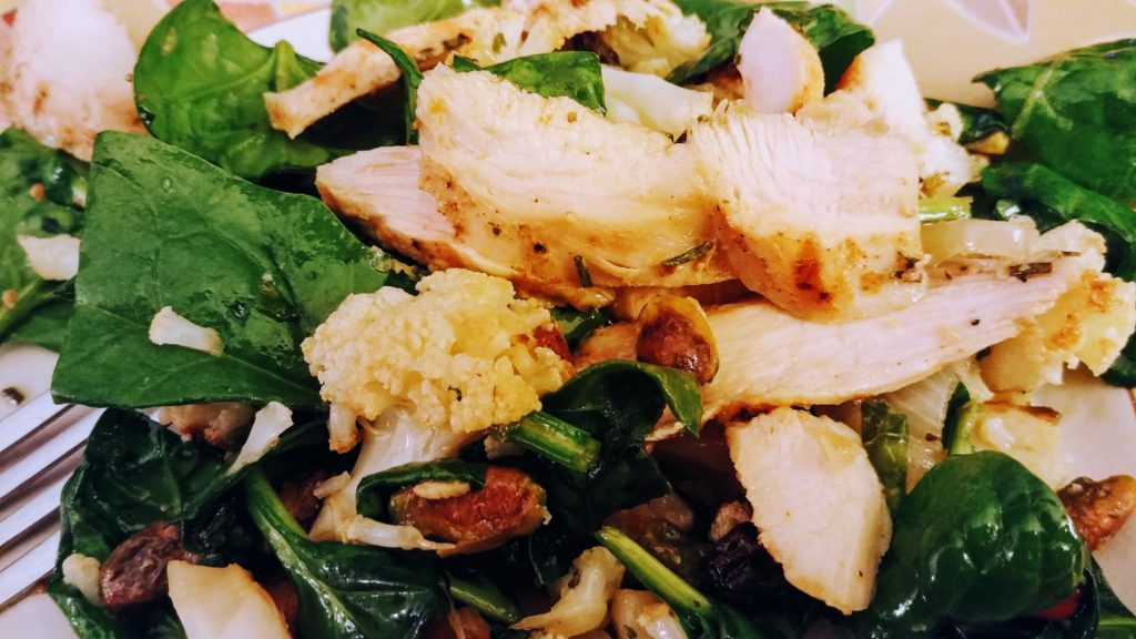 Roasted Cauliflower Salad with Grilled Chicken Breasts