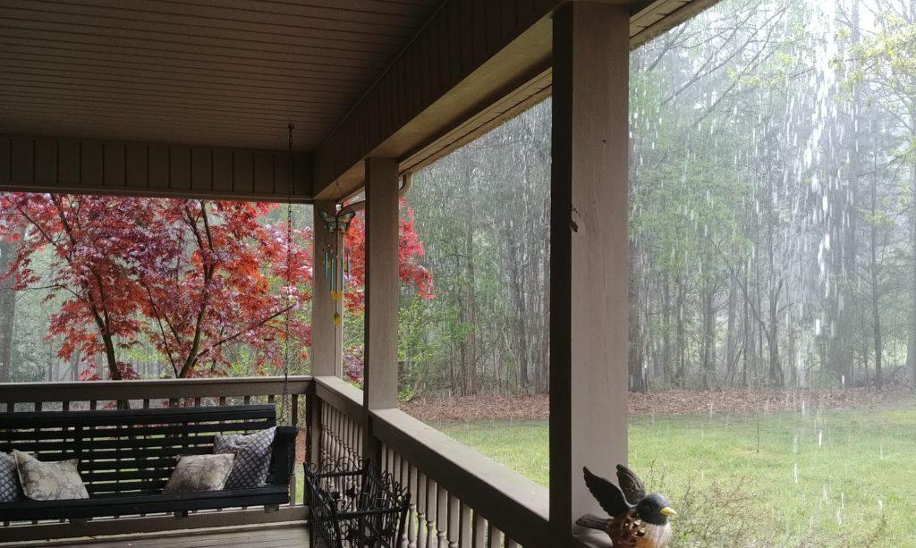 porch sitting in the rain