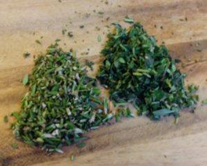 minced herbs for pate